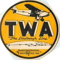 TWA Airline ~The LINDBERGH Line~ Scarce Early Luggage Label, 1931 in Collectibles, Transportation, Aviation | eBay