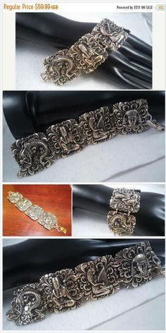 On Sale Vintage Aluminum Wide Collectible Bracelet, Mid Century 1940's 1950's Germany King Tut Goddess Dragon Egyptian Revival Jewelry#shopsmall #shopvintage #gifts4Her #MomBosses #shopetsy #plsfollow4updates #more2Come #holidaygiftguide #giftforher #giftsformom #giftguide #vintagestore #vintagestreetwear #bohemian #handmade #antiques #retro #vintagestyle #voguet #vogueteam #teamlove #vjse2 #ecochic #blackfridaysale #cybermondaysale #buynow #etsyfinds #holidaygiftguide #christmasgiftidea…