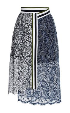 Lace Amara Skirt With Stripes by Preen by Thornton Bregazzi Now Available on Moda Operandi