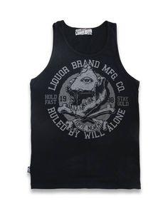 Liquor Brand Herren WILL ALONE Tank Tops.Oldschool,Rockabilly,Tattoo,Biker Style