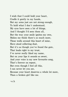 """""""I've never really liked my name, but on your lips it sound so sweet."""" This poem really hit home. #poetry #crush #brokengirl"""