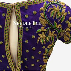 One of our favorite colour combinations. Beautiful blue color designer blouse with floret lata design hand embroidery gold thred work. 30 September 2017