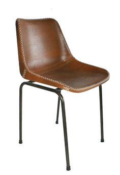 Silla de cuero marrón con estructura tubular de acero. 44cm longitud | 41cm profundidad | 45cm altura asiento |  79cm altura