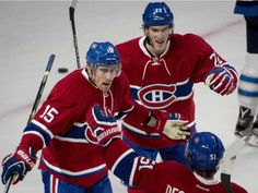 Montreal Canadiens' Tomas Fleischmann (15) celebrates his first-period goal against the Winnipeg Jets Sunday, Nov. 1, 2015 in Montreal.