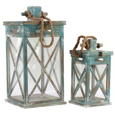 Distressed Blue Finish Hanging Wooden Lantern (Set of 2) Free Shipping... ❤ liked on Polyvore featuring home, home decor, candles & candleholders, blue home accessories, wooden lanterns, wood lantern, blue home decor and wood home decor