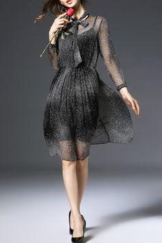 Dotted Sheer Silk Dress