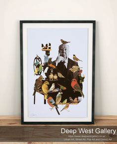 Birds By Phil Bedford Mixed Media Collage -FRAMED analogue collagge mounted on foam board Size : x Collage Frames, Mixed Media Collage, S Williams, Urban Art, Galleries, Street Art, Art Gallery, Birds, Deep