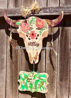 Hospital Door Hanger Cactus Floral Cactus Nursery Cow Nursery Tribal Nursery Succulent Decor B Cow Nursery, Tribal Nursery, Baby Door Hangers, Burlap Door Hangers, Hospital Door Hangers, Cactus Decor, Cactus Cactus, Cow Skull, Baby Love