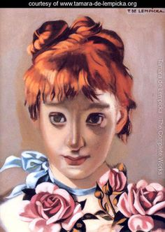 Redheaded Girl and Garland of Roses, c.1944 - Tamara de Lempicka - www.tamara-de-lempicka.org