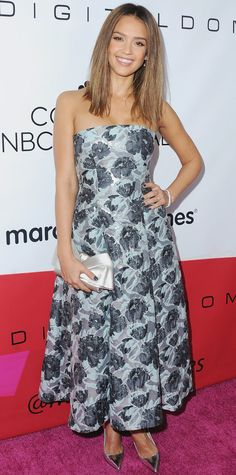 Jessica Alba was honored at the 2015 March of Dimes Celebration of Babies and embraced wintry florals in a custom strapless ankle-grazing Brock Collection design that she styled with a satin bow clutch, Harry Kotlar diamonds, and silver mirrored pumps.