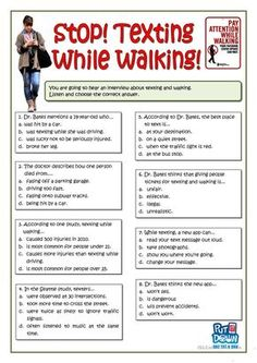 Stop Texting While Walking Worksheet - Free Esl Printable Worksheets on Best Worksheets Collection 439 Science Chemistry, Science Education, Science Classroom, Science Experiments, Kids Education, Active Listening, Listening Skills, Listening Activities, English Teaching Materials