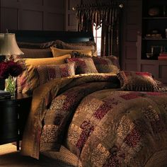 4-Pc Croscill Galleria King Comforter Set Red Brown Floral Damask French Paisley #Croscill #Traditional