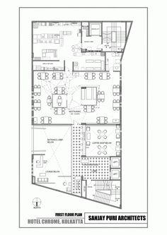 Image 5 of 10 from gallery of Chrome Hotel / Sanjay Puri Architects. Photograph by sanjay puri architects Restaurant Floor Plan, Restaurant Layout, Hotel Floor Plan, Restaurant Design, Hotel Design Architecture, Hotel Lobby Design, Architecture Plan, Parque Industrial, Interior Design Presentation