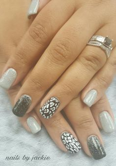Young nails gel set  Black grey silver nails with Leopard  print nail art Nails by jackie