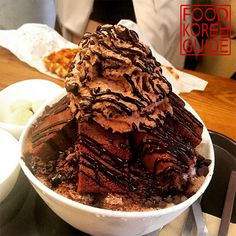 Real Cacao Bingsu (리얼카카오빙수) from Caffe On The Plan (카페온더플랜) in Seoul. More info in the No.1 food guide in Korea, Food Korea Guide.