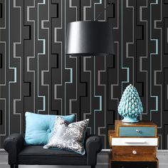 3D abstrato Paredes Papel De Parede Geométrico rolo para o quarto Sala de estar Home Decor Preto Paredes Wallpaper Rolo US $49.99