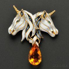 Gold, Enamel, and Gem-set Unicorn Brooch, Aldo Cipullo Equestrian Jewelry, Horse Jewelry, Cat Jewelry, Enamel Jewelry, Metal Jewelry, Sterling Silver Jewelry, Vintage Jewelry, Fine Jewelry, Jewellery