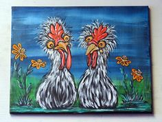 Chicken Art Original Acrylic Painting on Canvas Whimsical Acrylic Painting Canvas, Fabric Painting, Painting Prints, Rooster Painting, Rooster Art, Chicken Painting, Chicken Art, Print Artist, Artist Art