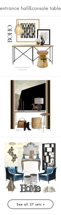 """entrance hall&console table"" by explorer-14531455968 ❤ liked on Polyvore featuring interior, interiors, interior design, home, home decor, interior decorating, Varaluz, Zuo, Mitchell Gold + Bob Williams and House Doctor"