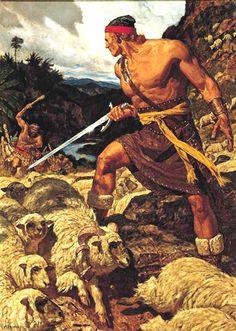 Ammon Son Of King Mosiah Nephite Defending The Flocks Lamoni Lamanite Proving His Desire To Serve People Art By Arnold Friberg