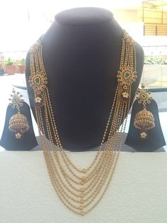 8 strands long mala with golden beads India Jewelry, Temple Jewellery, Gems Jewelry, Pakistani Bridal Jewelry, Bridal Jewellery, Gold Jewellery, Chandraharam Designs, Traditional Indian Jewellery, Butterfly Jewelry