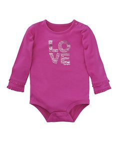 $4.99 marked down from $15.99! Raspberry 'Love' Long-Sleeve Bodysuit - Infant #zulilyfinds