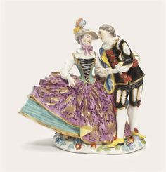 A MEISSEN GROUP OF 'THE SPANISH LOVERS'   CIRCA 1740, INDISTINCT BLUE CROSSED SWORDS MARK   mid 18th Century, Sculptures, Statues & Figures   Christie's