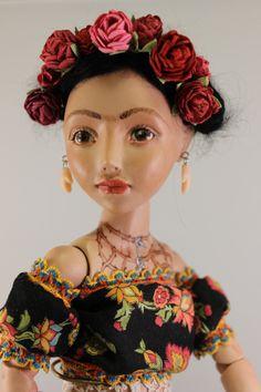Frida Kahlo One of a kind OOAK Porcelain BJD by turtlechild