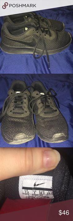 Black Nike shoes Bought on Black Friday for $65, only worn a handful of times. They are very breathable & comfortable. They are a little too big for me since I'm a size 7. I'm open to offers!! Also if anybody has these same shoes but in a different color I'd be willing to trade! Nike Shoes Athletic Shoes