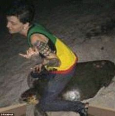This is the Snapchat image, allegedly of Stephanie Moore riding a sea turtle, which prompted a criminal probe