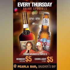 Tonight @ #PearlasBar #BaughersBay #BVI | Happy Hour | 6PM - 8PM | Music by @daddyturbosound  @youngturbo1  @djtriplextreme | Hennessy SPECIAL $5  Coors Light 2 for $5 | event powered and submitted by @caribbean_cellars_bvi | To submit an event email us: events@LiminCircle.com