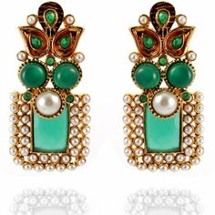 Nalini Earrings http://blossomboxjewelry.com/e1313.html #jewelry #indian #fashion #bollywood #designer #earrings #emerald