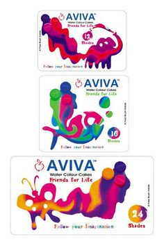 AVIVA A stationary Brand. The complete Brnading was done by us. This Particular Packaging Design was on Colour cakes and what happens when water is added to it. So the kids can understand the visuals it creates with varoius colour mix.