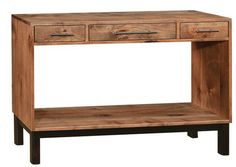 Amish Cooper Sofa Table Cool cut out shape for the Cooper Sofa Table! Solid wood construction and custom made in choice of wood and stain. #sofatables #contemporaryfurniture