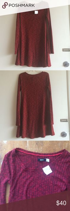 """NWT BDG knit dress BDG long sleeve dress in soft poly/rayon blend. The knit is very stretchy and comfortable. 30"""" long. Urban Outfitters Dresses Mini"""