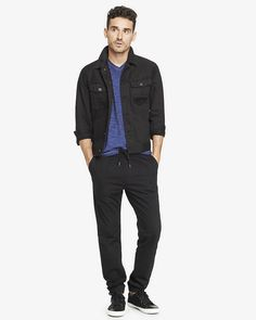 Jogger Black Cotton Pant from EXPRESS