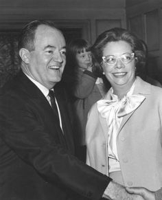 Vice President, Hubert Humphrey, and Jeannette Rockefeller, in the mid 1960s at a National Association for Mental Health (now Mental Health America) Leadership Conference