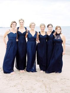 Navy bridesmaids dresses, all different shades and styles Jewel Tone Bridesmaid, Midnight Blue Bridesmaid Dresses, Beach Bridesmaids, Mismatched Bridesmaid Dresses, Bride Dresses, Bridesmaid Gowns, Fall Dresses, Short Dresses, Bridesmaids