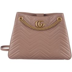 Pre-owned Gucci Marmont Matelass? Shoulder Bag ($2,195) ❤ liked on Polyvore featuring bags, handbags, shoulder bags, neutrals, brown leather handbags, gucci handbags, chain shoulder bag, shoulder handbags and leather purses