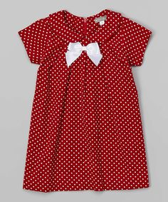 Look at this Red Dotted Corduroy Dress - Infant