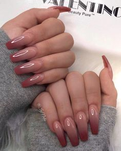 99 Stylish Ombre Long Nail Ideas To Try This Year Makeup Nails and Beauty in 2020 Burgundy Acrylic Nails, Pink Ombre Nails, Fall Acrylic Nails, Acrylic Nail Designs, Brown Nails, Ombre Burgundy, Long Nail Designs, Ombre Nail Designs, Coffin Nails Long