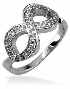 Cubic Zirconia Infinity Ring in Sterling Silver Infinity Jewelry. $220.00
