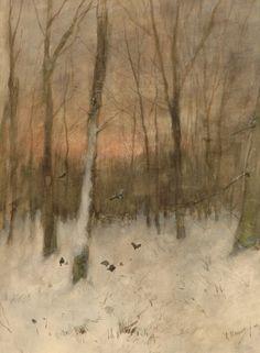 Anthonij 'Anton' Mauve (Zaandam 1838-1888 Arnhem) Besneeuwd boslandschap bij ondergaande zon - Kunsthandel Simonis en Buunk, Ede (Nederland).