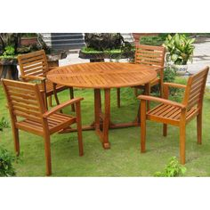 Add a touch of style and comfort to your outdoor furnishings with this dining set.  This dining set is built with durable, long-lasting yellow balau hardwood and is finished in a beautiful dark honey stain that is sure to impress your guests.