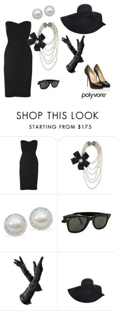 """Breakfast at Tiffany's"" by meatball1 ❤ liked on Polyvore featuring Hervé Léger, Lee Angel Jewelry, Palladium, Ray-Ban, Aspinal of London, Yves Saint Laurent, Christian Louboutin, hepburn, holly and audrey"