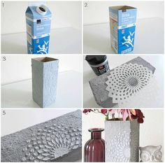 Aus einem alten Tetra Pak eine Vase im Betonlook selb… DIY with Betton effect paste. Make a concrete look vase out of an old Tetra Pak Crafts with concrete Upcycling Tetra Pak Cement Art, Concrete Crafts, Concrete Art, Concrete Projects, Concrete Design, Tetra Pak, Coaster Crafts, Ideias Diy, Diy Décoration