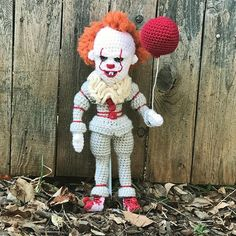 My 16 year old just asked if I wanted to watch the old #stephenkingsit miniseries with him tonight. Ummmmmmmm  yes. This #pennywise is sitting on a shelf by the tv so he can watch with us  #craftyiscool #amigurumi #pennywisedoll #pennywisethedancingclown #it2017 #itcrochet #crochetdoll #amigurumidoll #fanart #itfanart #pennywisefanart