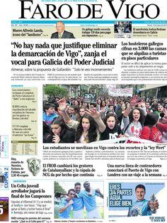 Los Titulares y Portadas de Noticias Destacadas Españolas del 10 de Mayo de 2013 del Diario Faro de Vigo ¿Que le parecio esta Portada de este Diario Español?