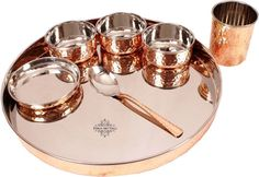 Indian Art Villa Stainless Steel & Copper Traditional Kitchen Dinner Set of 8 Piece 1 Plate Thali 1 Puding Plate 3 Bowls 1 Spoon 1 Glass 1 Fork Special Thali Plate For Home Decorative Restaurant Ware Hotel Home Gift