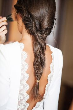 fishtail braids braided together.